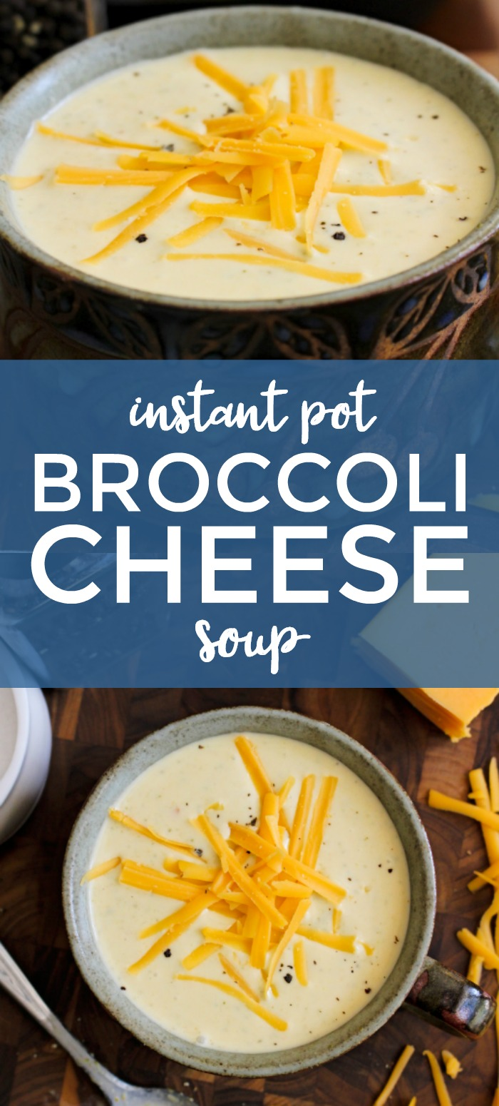 With just a few simple ingredients and the help of your pressure cooker, you can make a creamy, cheesy, restaurant-worthy Broccoli Cheese Soup at home in less than 30 minutes! #instantpot #broccolicheesesoup #souprecipe