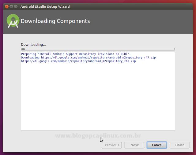 Aguarde enquanto é feito o download dos componentes adicionais