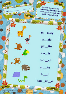 wild animals activity verbs inserting letters together with matching alongside pictures worksheet