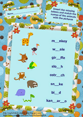 wild animals action verbs inserting letters and matching with pictures worksheet