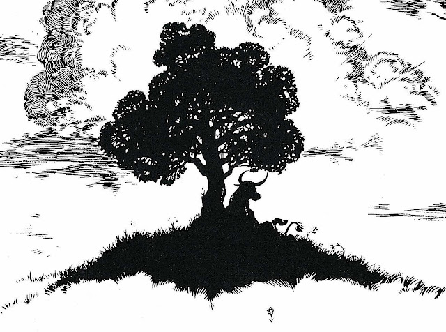 Robert Lawson's illustration of Ferdinand the bull in silhouette under a tree, 1936
