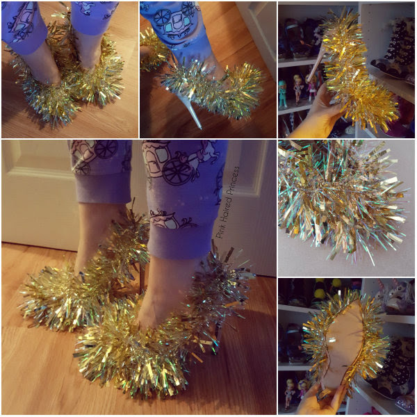 completed diy christmas tinsel shoes collage