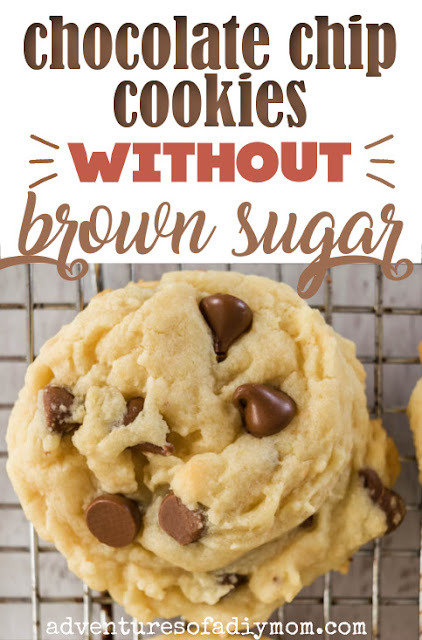chocolate chip cookie on a rack with the words chocolate chip cookies without brown sugar
