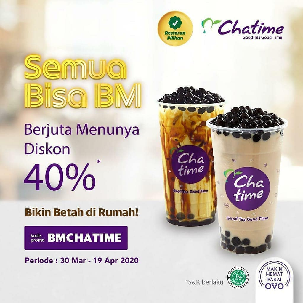 Promo Chatime Diskon 40% Via Grabfood Hingga 19 April 2020