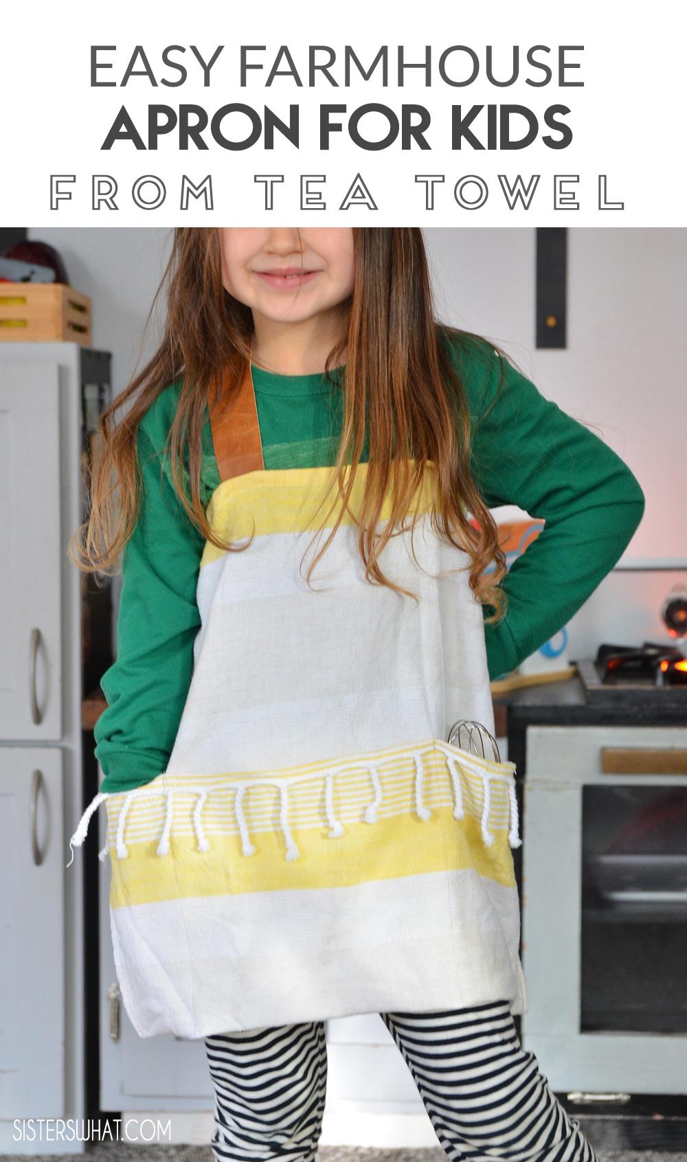 easy farmhouse tea towel apron for kids
