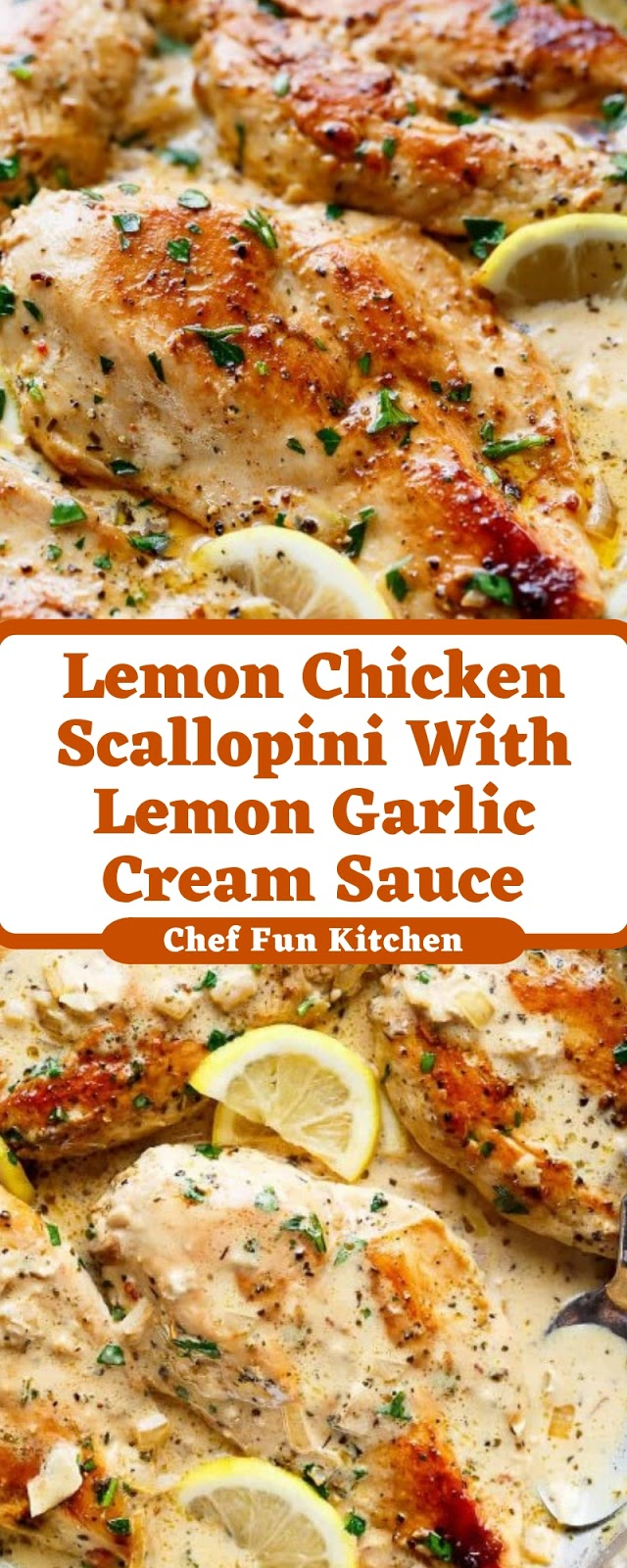 Lemon Chicken Scallopini With Lemon Garlic Cream Sauce
