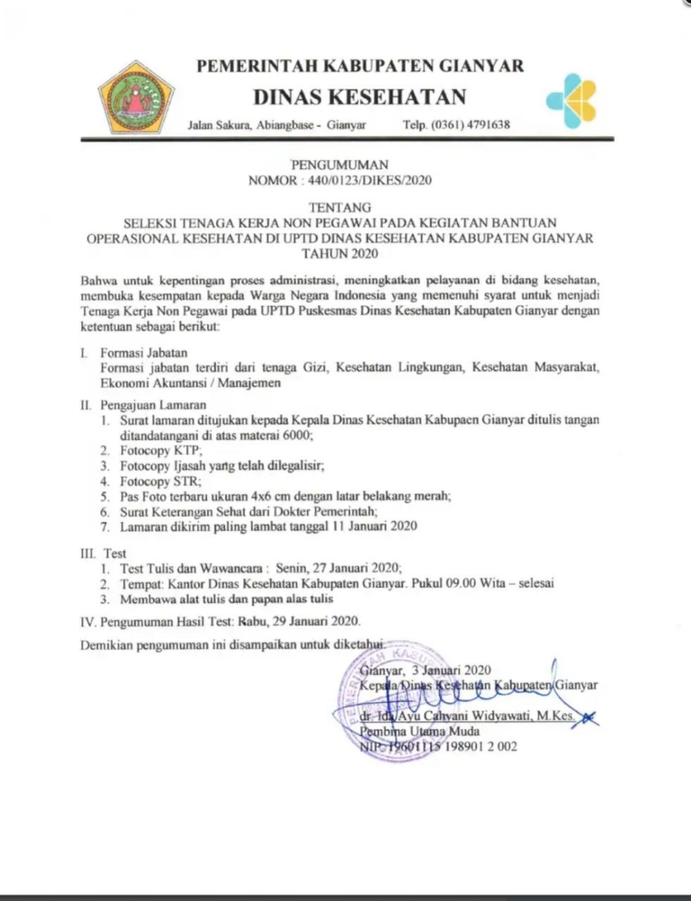 Penerimaan Tenaga Non PNS Dinas Kesehatan Pemerintah Kabupaten Gianyar Bulan Januari 2020