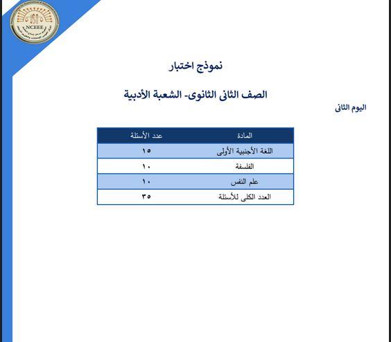 نماذج الوزارة الاسترشادية شهر ابريل بالاجابات فى اللغة الانجليزية والفلسفة وعلم النفس للصف الثانى الثانوى ترم ثانى 2021 (القسم الادبى)