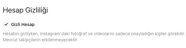 Instagram Hesap Gizlemek