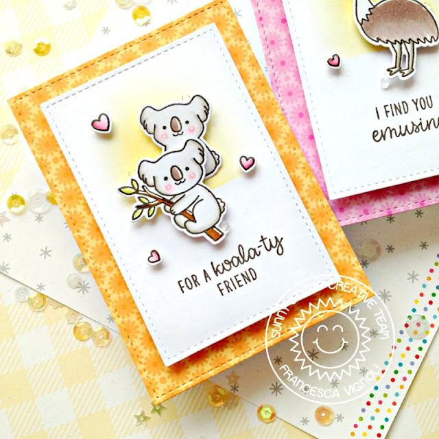 Sunny Studio Stamps: Stitched Rectangle Dies Outback Critter Friend Card by Franci Vignoli