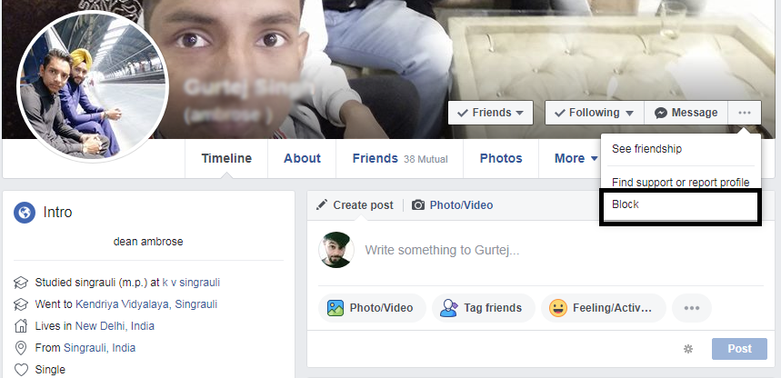 facebook account block kaise kare