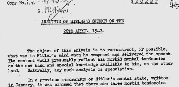 Uma análise secreta do estado mental de Adolf Hitler
