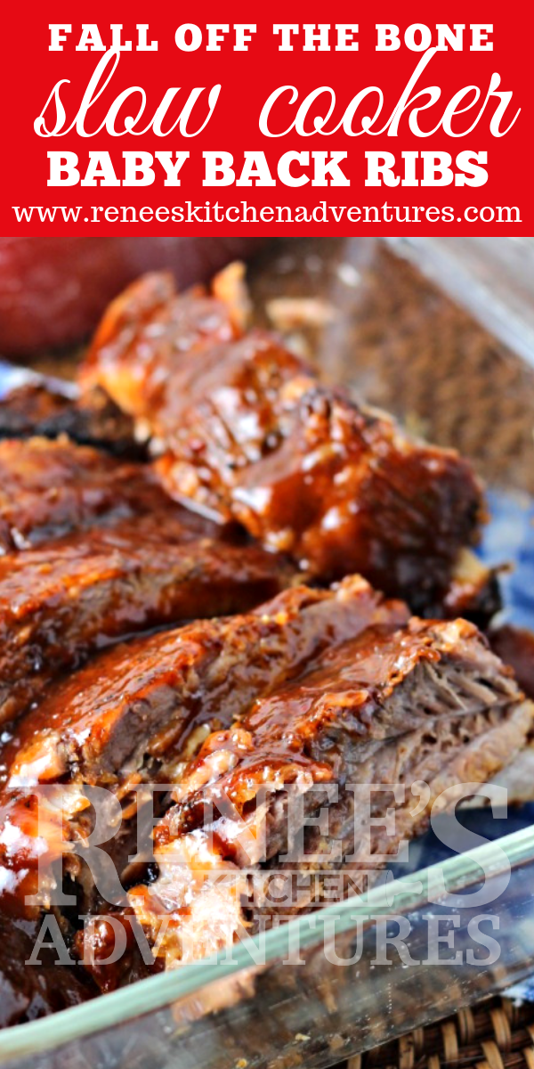 Fall-Off-The-Bone Slow Cooker Ribs  by Renee's Kitchen Adventures pin for Pinterest