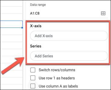 """انقر فوق """"إضافة محور س"""" أو """"إضافة سلسلة"""" لإضافة محور س أو محور ص إلى مخطط جداول بيانات Google أو رسم بياني في لوحة محرر الرسم البياني."""