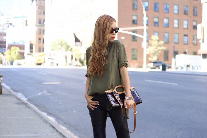 Banana republic green silk banded v neck blouse, blank denim moto pants, valentino rockstuds, wear panda sunglasses, hermes bracelet, chanel necklace, street style, louis vuitton bag, fashion blog