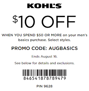 kohls coupon $10 off $50 men's basics purchase