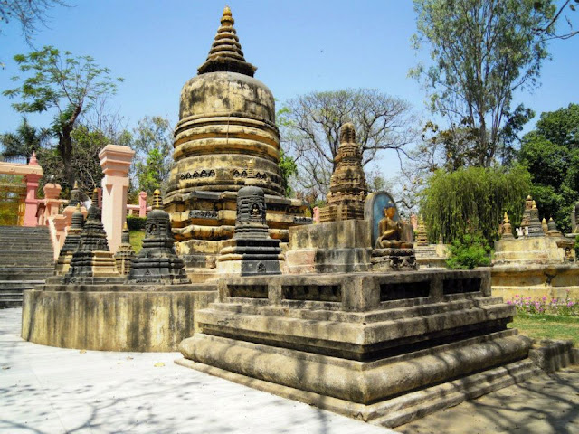 Votive stupas near the Mahabodhi Temple, Bodhgaya.