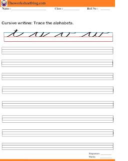 English cursive writing worksheet