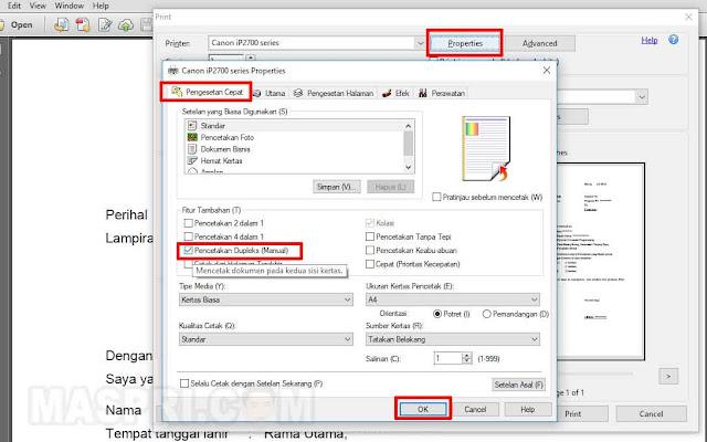 cara print bolak balik PDF