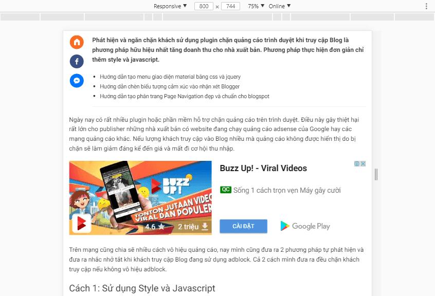 Hiển thị quảng cáo adsense trong bài viết theo kích thước màn hình