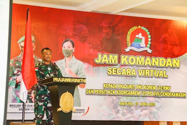 JAM KOMANDAN Korem 172/PWY Secara Virtual Kepada Seluruh Anggota dan Persit