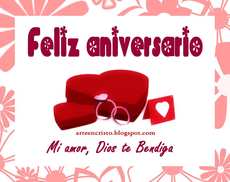 Feliz Aniversario Mi Amor: Postales Cristianas Arte En Cristo...: Tarjeta Postal Para Imprimir: Feliz Aniversario