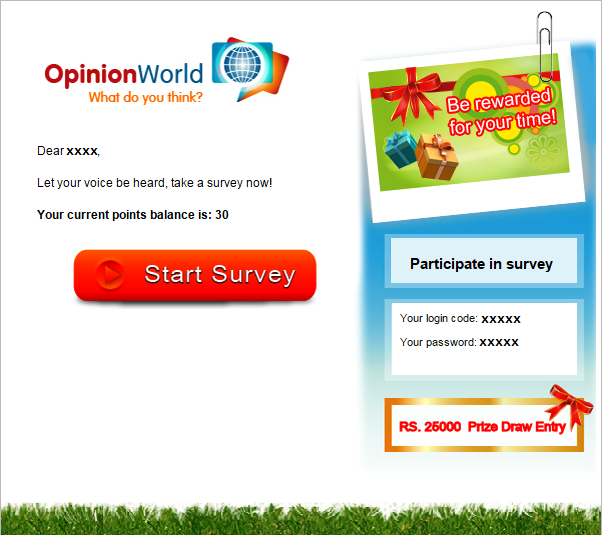 Survey invitation sent by Opinion World to the members