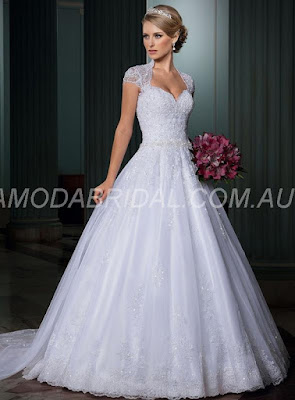 A-line/Princess Sweetheart Stunning Sleeveless Applique Court Train Wedding Dresses