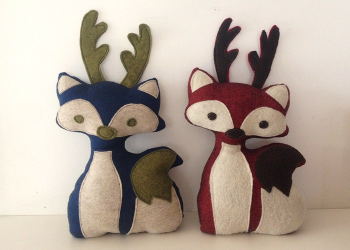 Stuffed Fox with Antlers Pattern + Tutorial