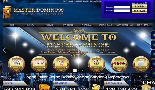 MasterDomino99 Agen Situs Poker Online, dominoQQ, BandarQ terpercaya 2017