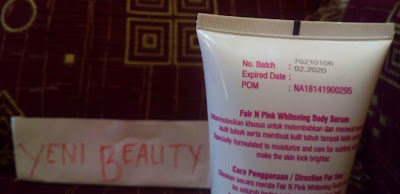 No BPOM Fair n Pink Whitening Body Serum Pemutih Tubuh