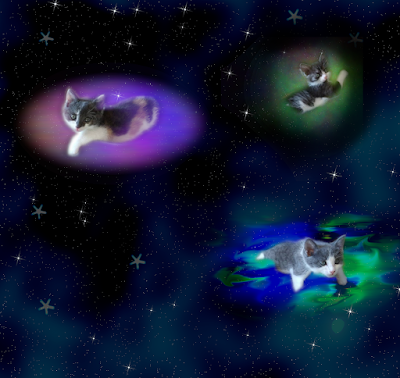 Three kittens floating on plasma clouds in space