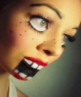 Maquilla terrorífico y creativo en mujeres lindas