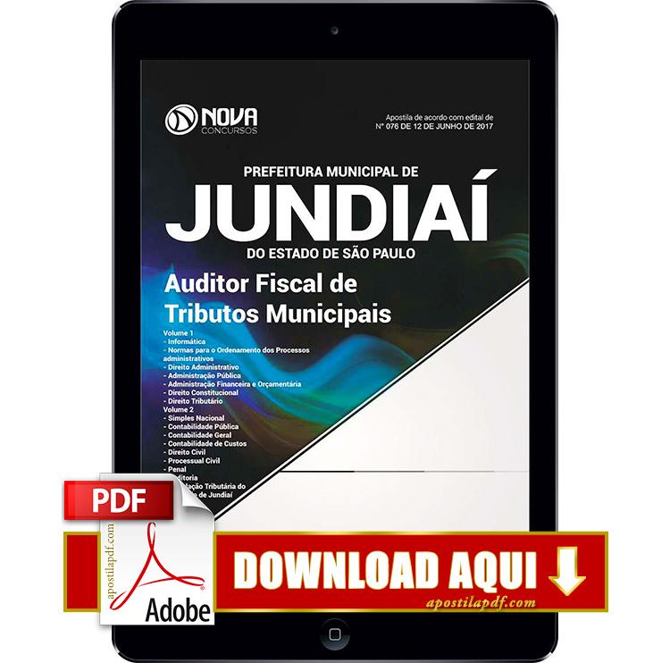 Apostila Prefeitura de Jundiaí 2017 PDF Download Auditor Fiscal de Tributos Municipais