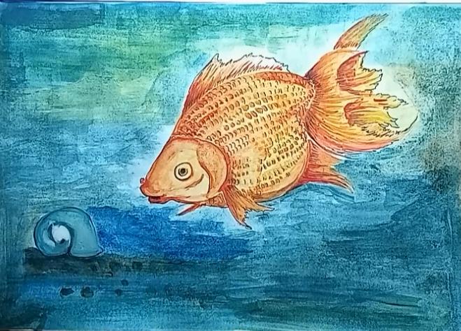 Teknik menggambar ikan mas koi menggunakan catair - NUANSA GAMBAR