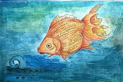 Teknik menggambar ikan mas koi menggunakan catair