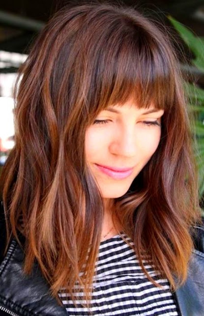 Bang with Layered Shoulder Length Hair - Medium Length Hairstyle and Haircuts For Women