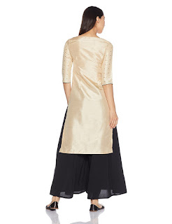 W kurta with golden print, orange and silver colored front and silver colored back