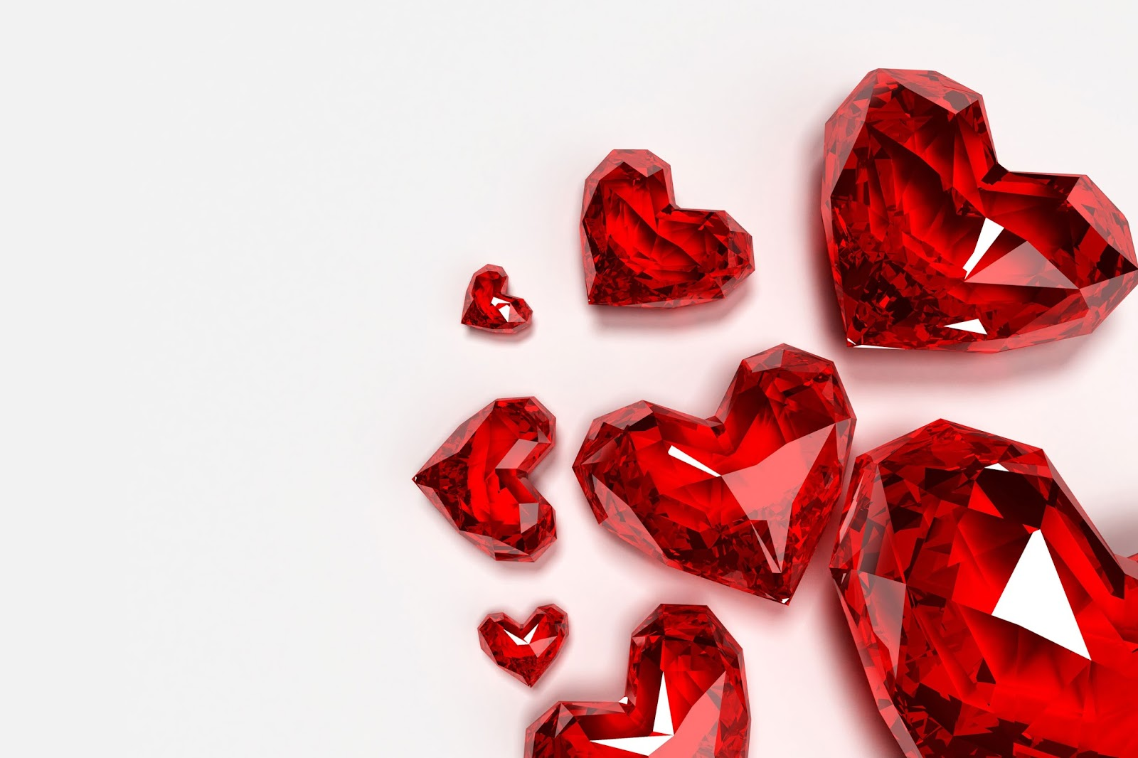 red crystal heart romantic love wallpapers