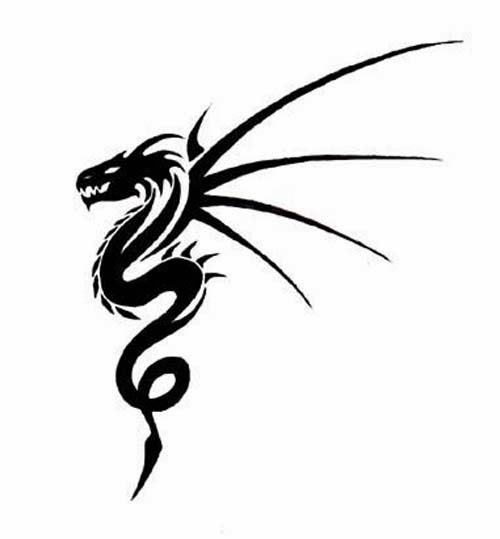 Dragon with nails wings tattoo stencil