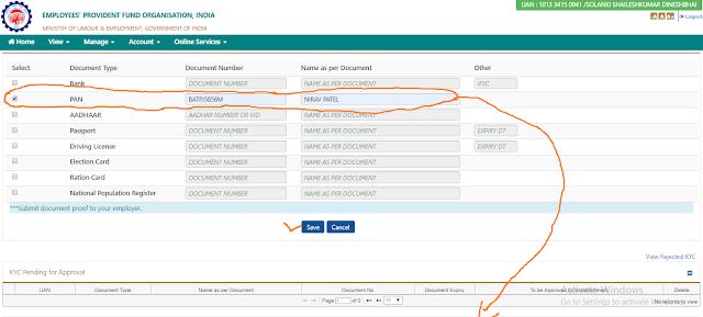 how to pan card kyc in epf account