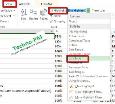 highlight late tasks  ms project, how to use HIGHLIGHT MS Project