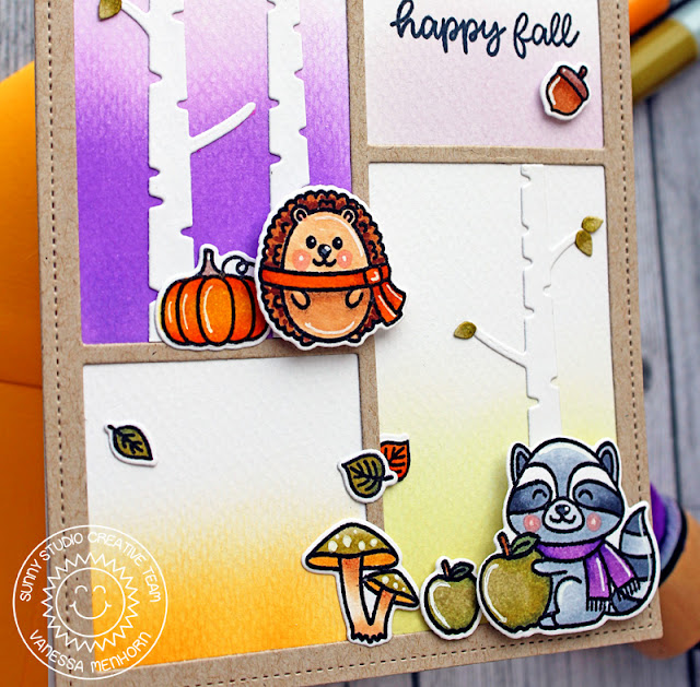 Sunny Studio Stamps: Woodsy Autumn Rustic Winter Dies Comic Strip Speech Bubble Dies Happy Fall Card by Vanessa Menhorn
