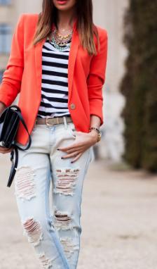Strips shirt with orange blazer and  jeans