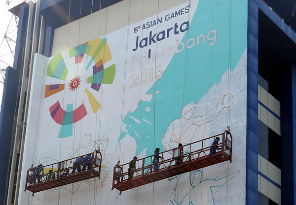 bank mandiri branding sticker gedung asian games 2018