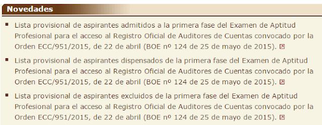 Examen ROAC 2015 listas provisionales aspirantes admitidos, excluidos y dispensados