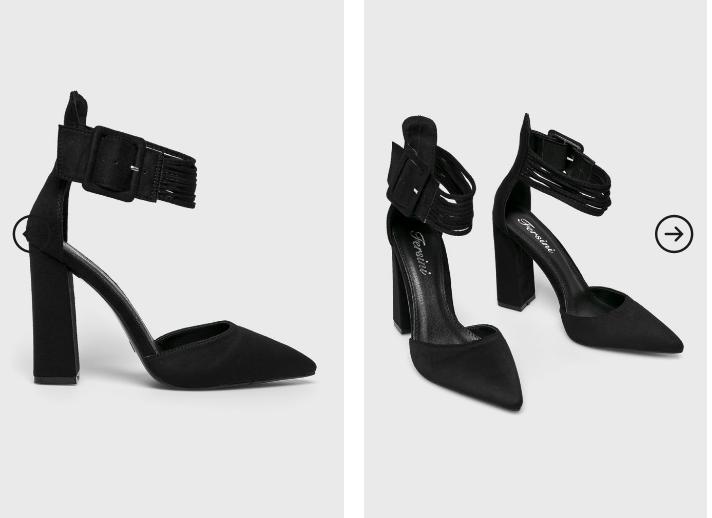 Pantofi negri de ocazii cu toc gros inalt moderni decuapti piele intoarsa