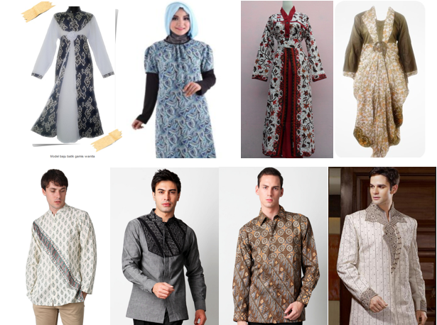 Model Baju Batik Gamis Untuk Pria dan Wanita