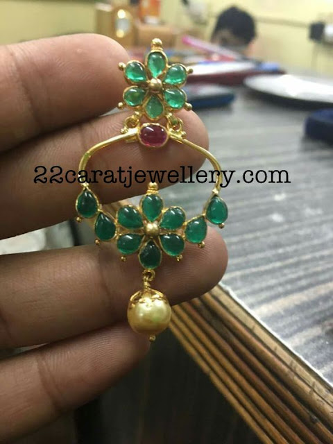 Light Weight Emerald Pendant Earrings