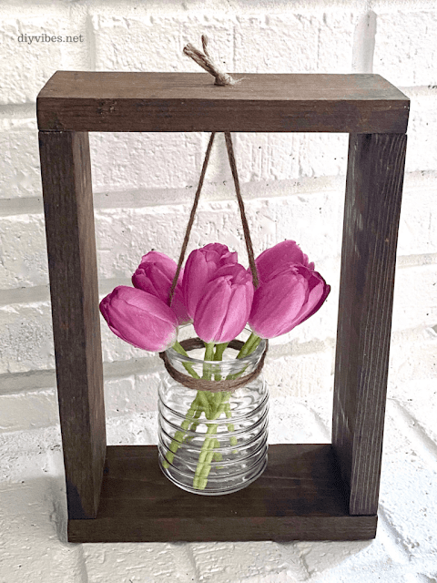DIY Wood Framed Flower Vase